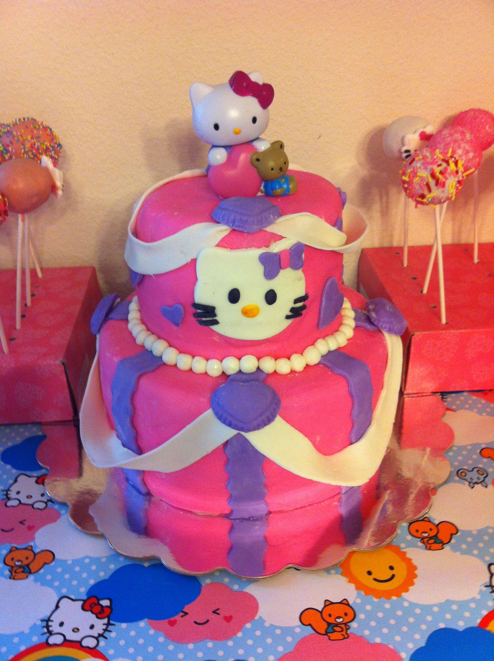 Hello kitty cake and cake pops cat cake hello kitty