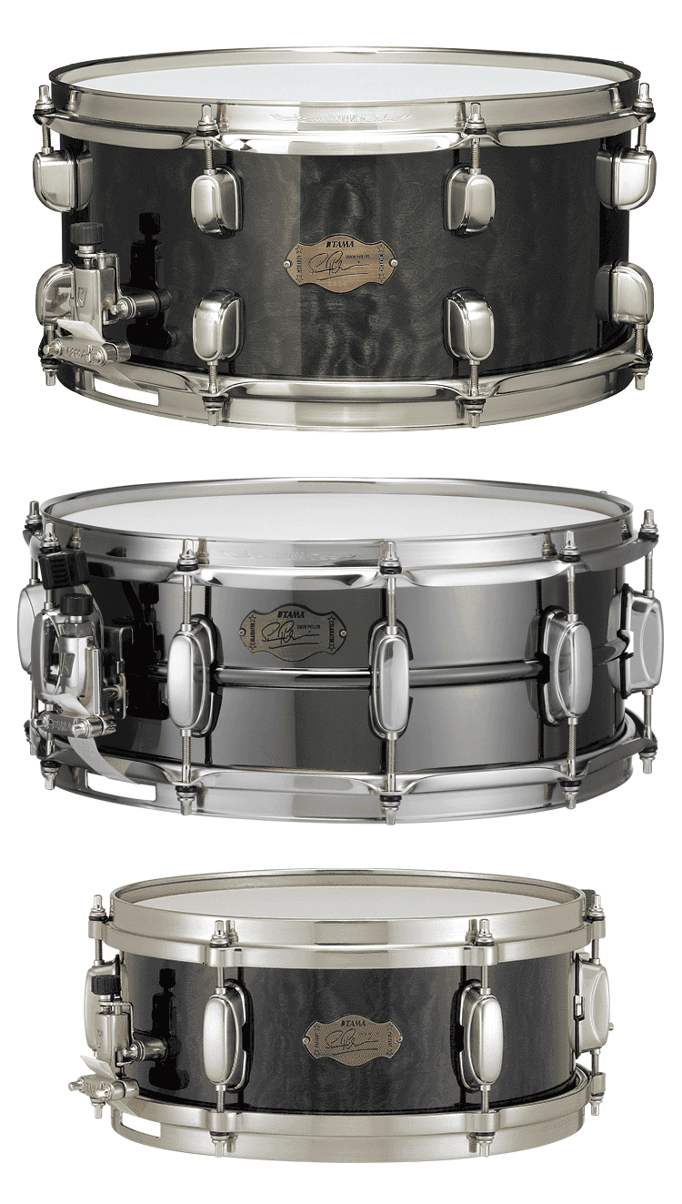 Simon Phillips Tama Snare Drum Arsenal Sp1465h The Monarch 6 5 X14 Sp1455h The Gladiator 5 5 X14 Sp125h The Pageant 5 X12 Drums Snare Drum Snare
