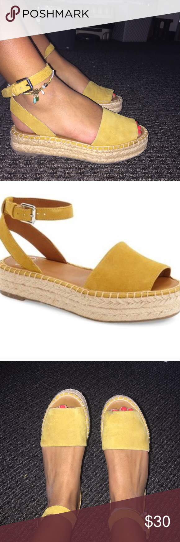 0c1b4536359 Mustard Yellow Franco Sarto Espadrille Sandals I ve worn these quite a few  times. Worn and pre- loved as shown in the photos. Slight cracking on right  toe.