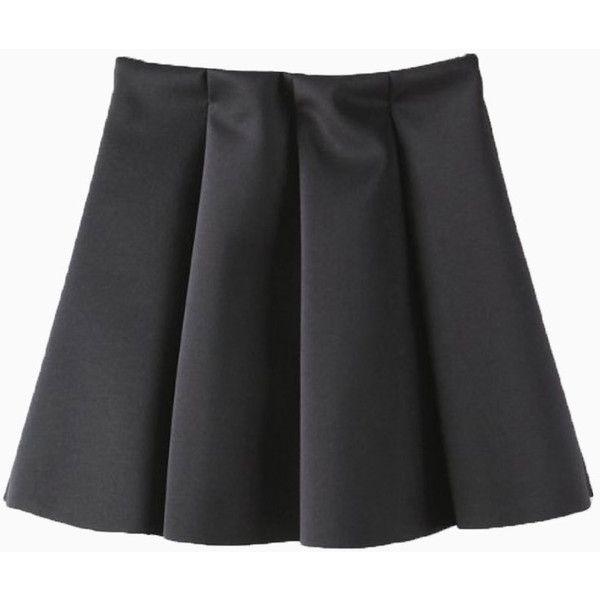 Black Simple Skater Skirt (300 GTQ) ❤ liked on Polyvore featuring skirts, bottoms, skater skirt, flared skirt and circle skirt