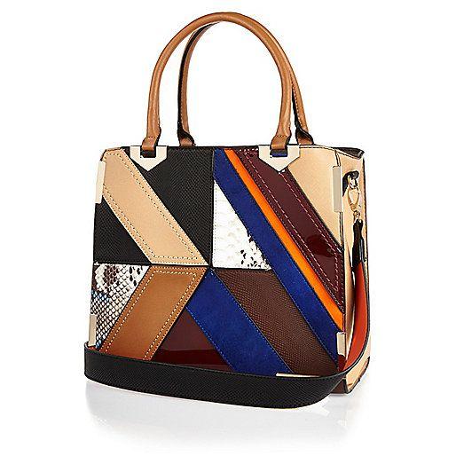 Dark Brown Patchwork Tote Handbag Pers Bags Purses Women