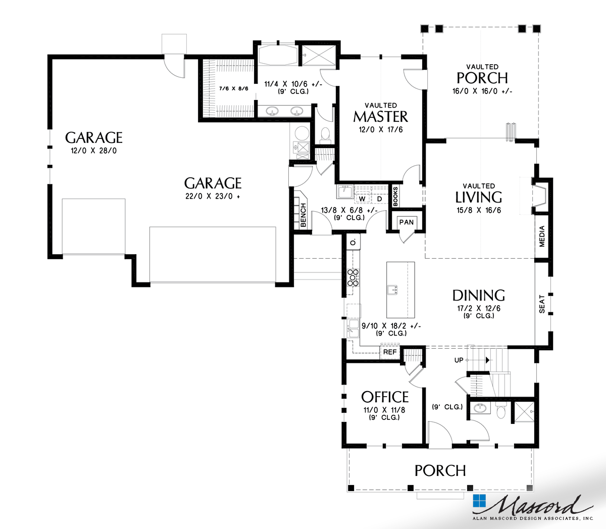 Mascord House Plan 22208a The Bennet Main Floor Plan House Plans And More Contemporary House Plans House Plans