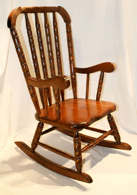 Vintage Children's Wooded Rocking Chair Made in Romania. Jenny Lind Style - Vintage Children's Wooded Rocking Chair Made In Romania. Jenny