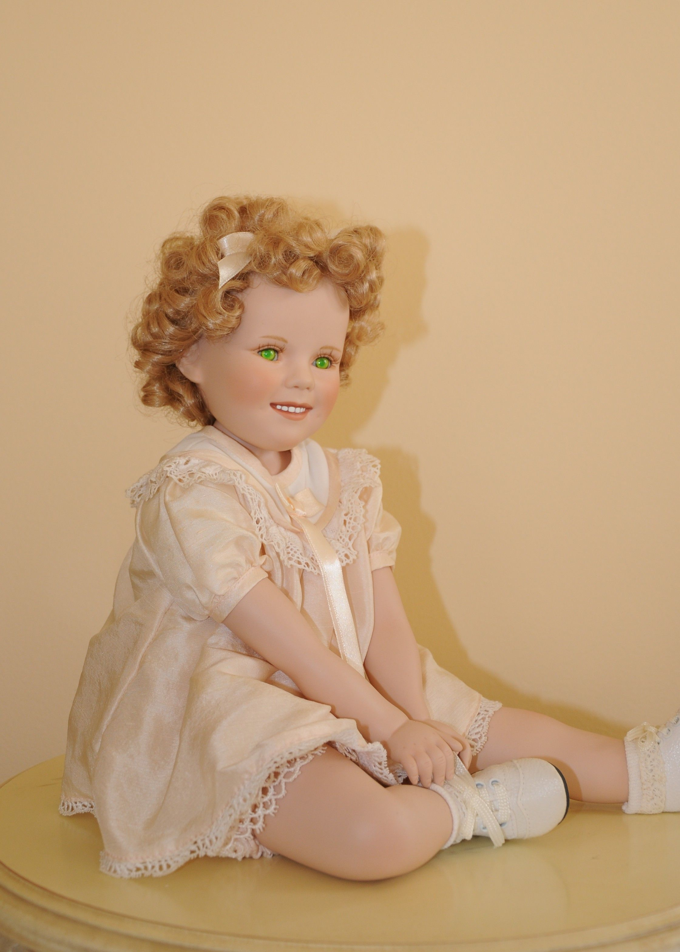My Shirley Temple ceramic Doll from Danbury Mint - green eyes.