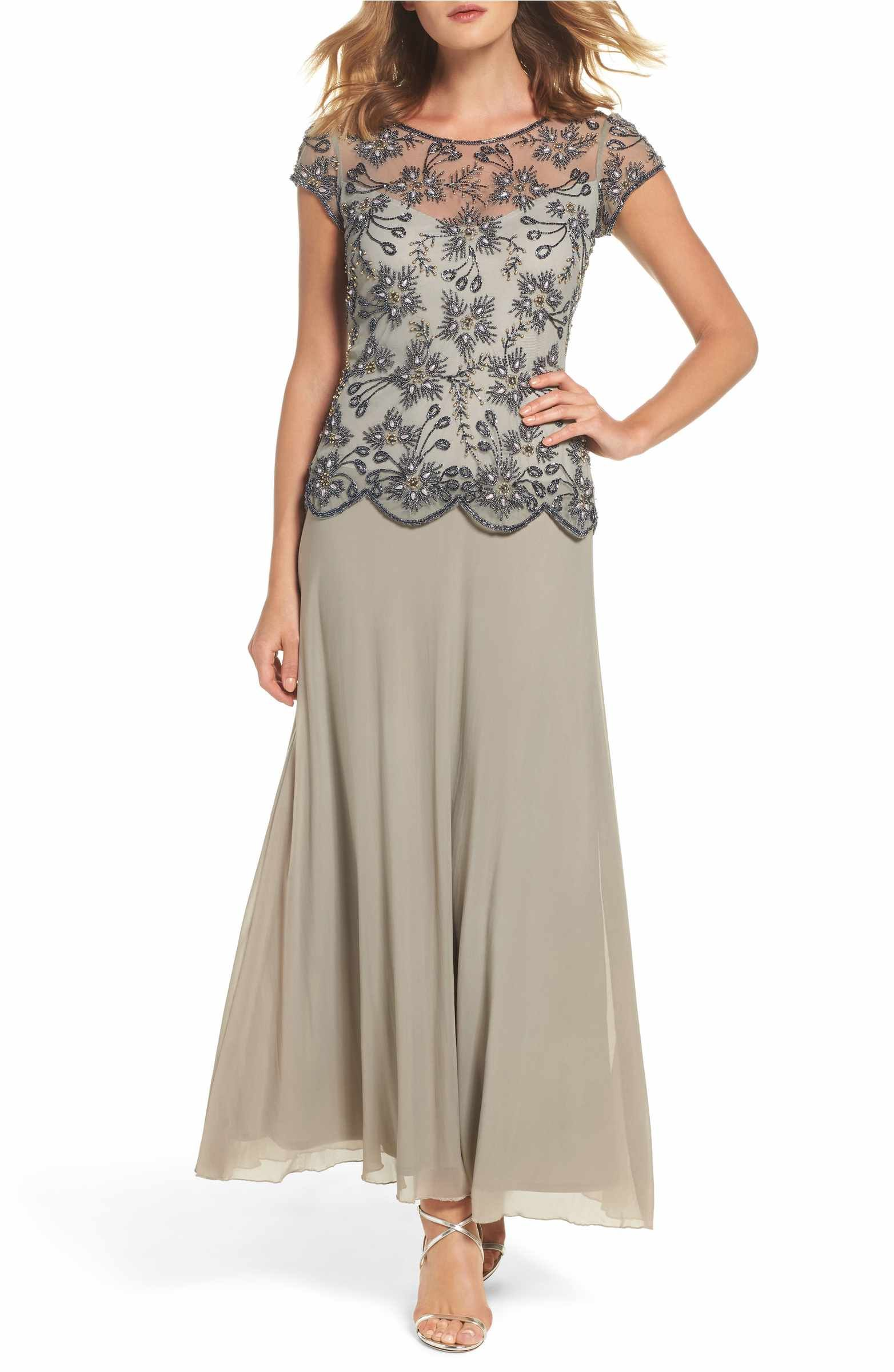 Main Image - Pisarro Nights Beaded Mesh Gown (Regular & Petite ...