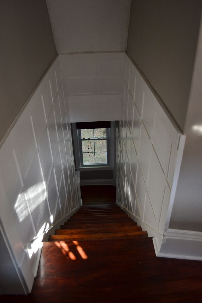 Lighting Basement Washroom Stairs: Add Window At Bottom And Woodwork To Brighten Up. See Www