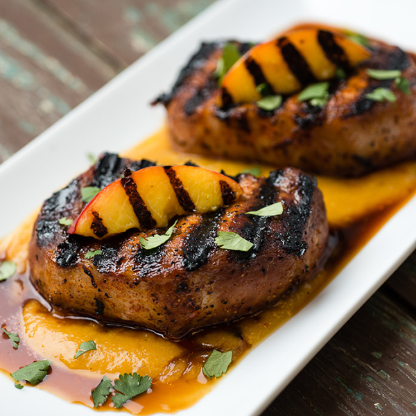 Smoky Grilled Pork Chops With Curried Ginger Nectarine