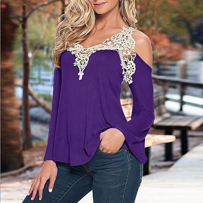 2d3fa0f1f3f6 Sexy V-neck Long Sleeves Lace Patchwork Off-shoulder Blouse