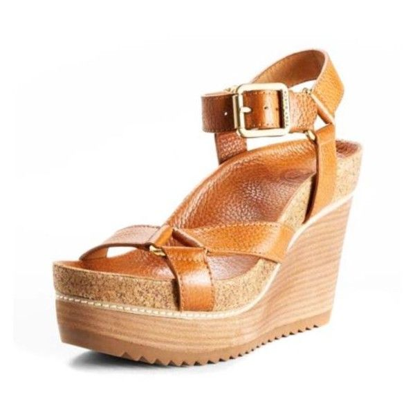 Tory Burch Heels Brenden Mid Wedge Sandal Official Sales found on Polyvore