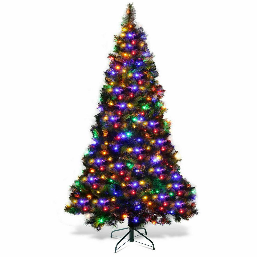 Costway 7 Ft Pre Lit Pvc Hinged Artificial Christmas Tree With Colorful Led Lights And Stand Cm21242 The Home Depot Pre Lit Xmas Trees Pre Lit Christmas Tree Real Christmas Tree