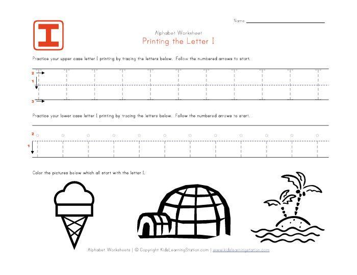 traceable worksheets – Letter I Worksheets