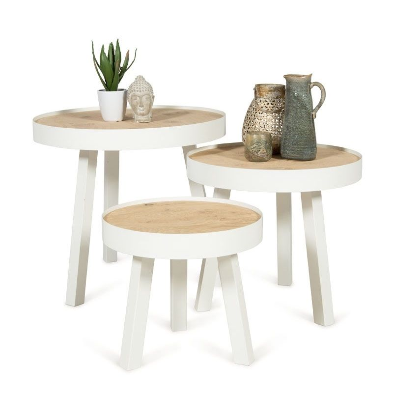 Ronde Salontafel Wit Hout.Bijzettafel Shelby Large Staal Wit Hout Naturewhite