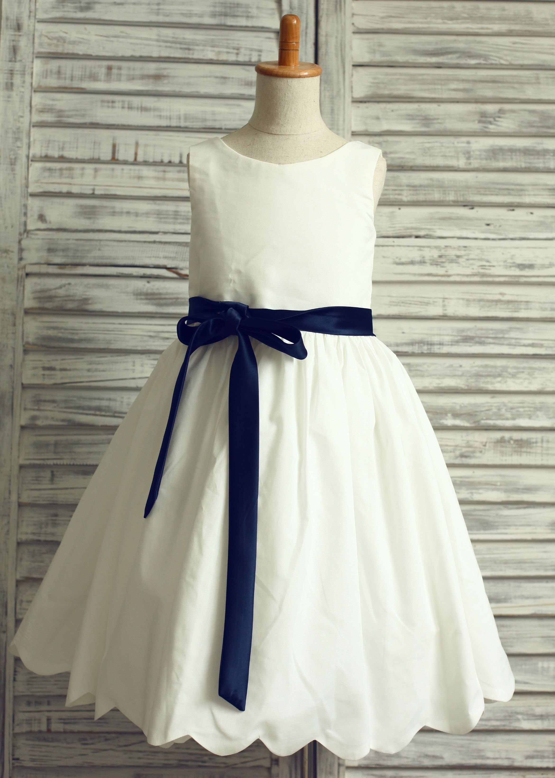Ivory cotton scalloped edge flower girl dress edie pinterest