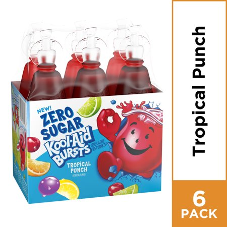 Kool Aid Bursts Tropical Punch Zero Sugar Artificially Flavored Soft Drink 6 Ct Pack 6 75 Fl Oz Bottles Walmart Com Tropical Punch Kool Aid Punch Drinks