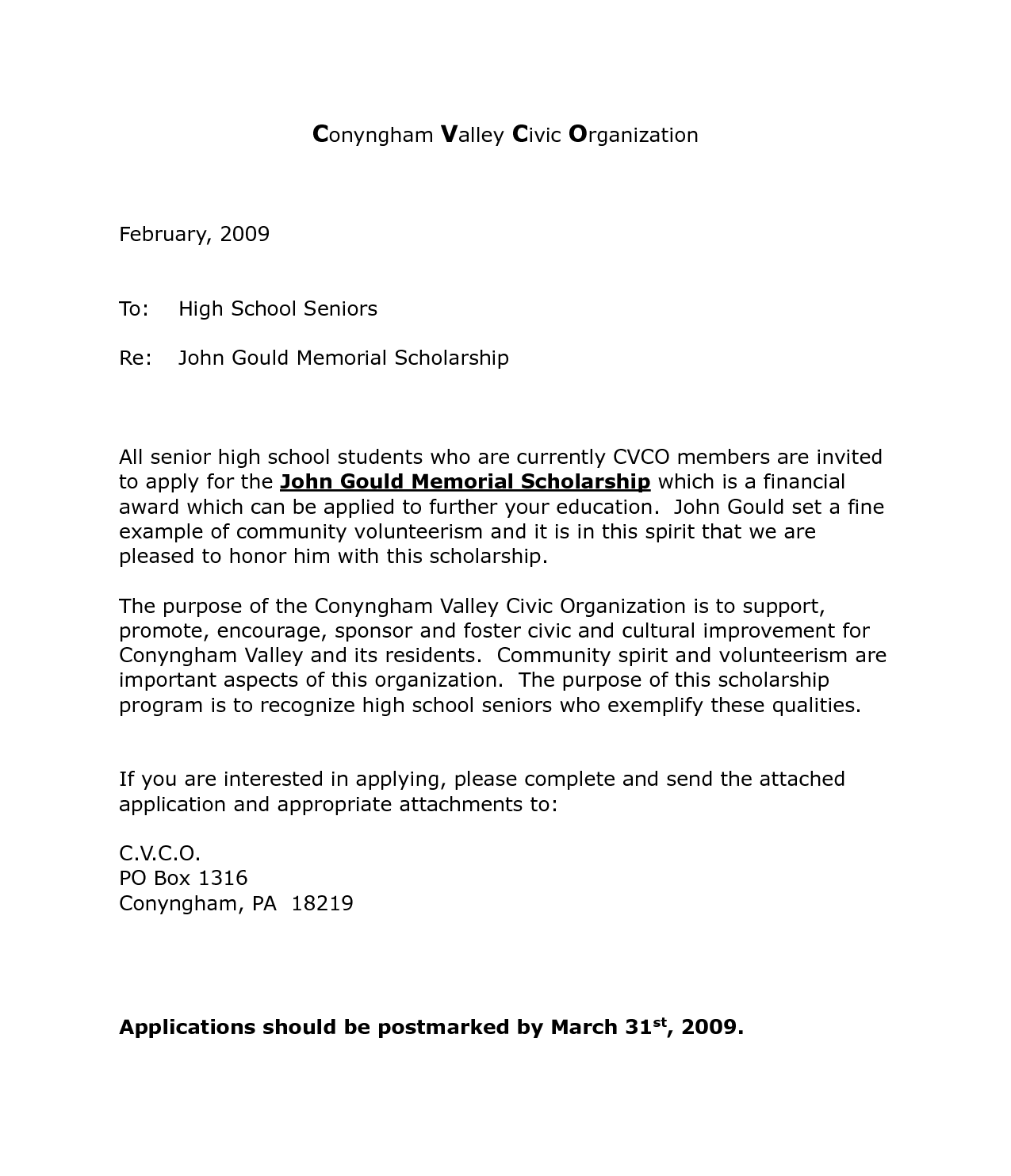 Scholarship Application Cover Letter  Resume Template