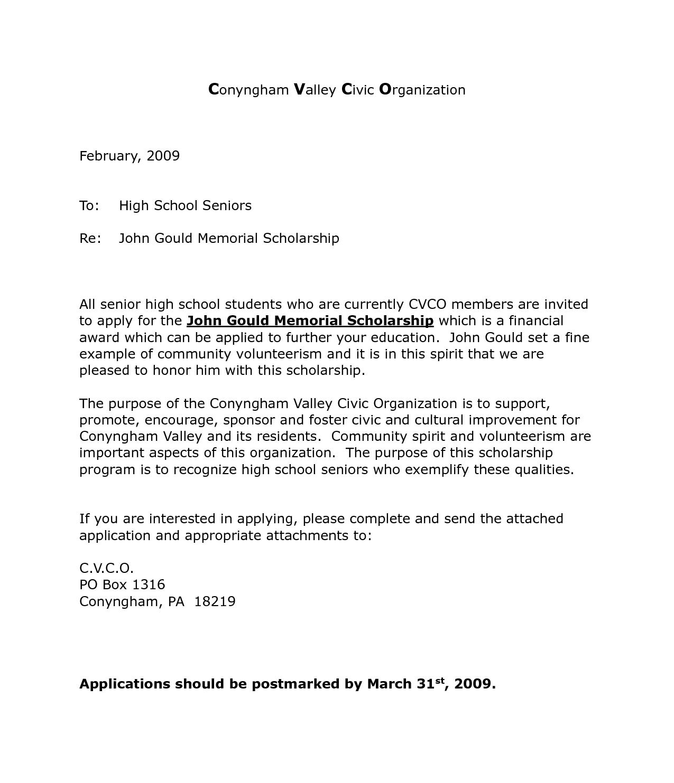 Cover letter for an award application September 25