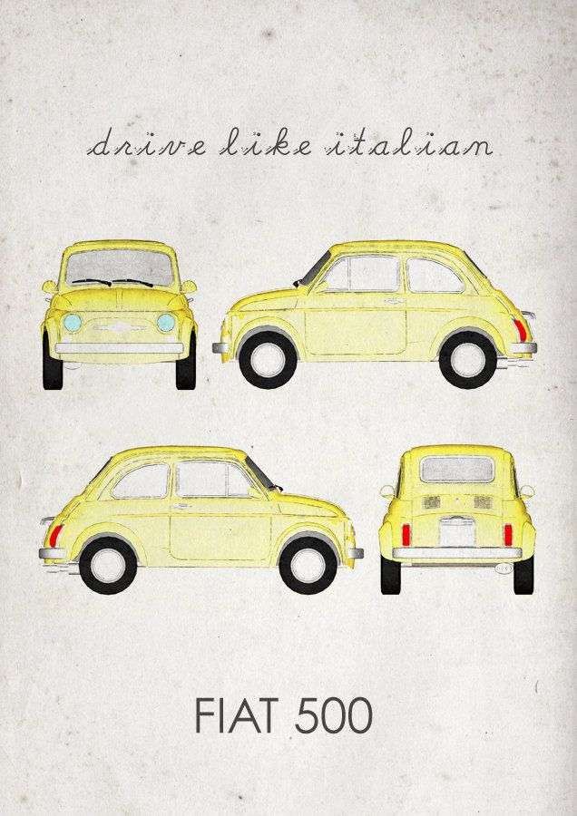 Drive like Italian. Fiat 500. Wall Art. Car Graphic. door jbFARM