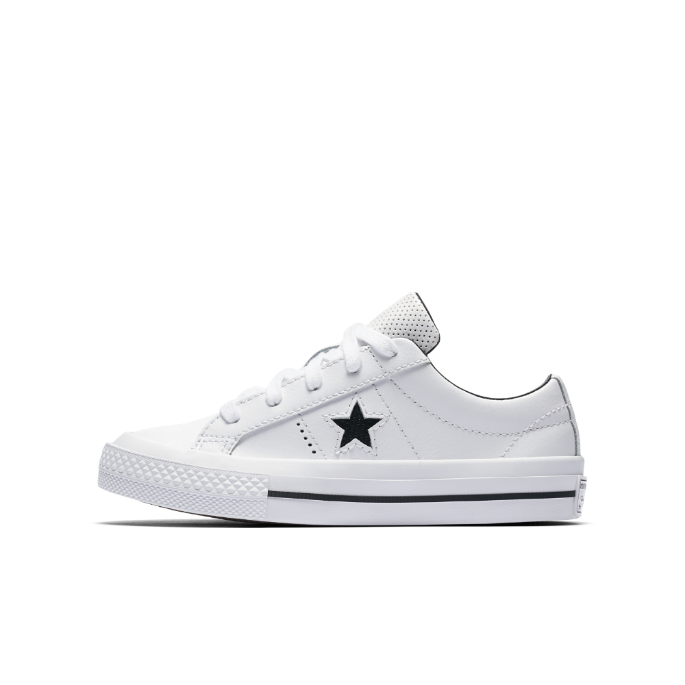 3e2d6a908cc6 Converse One Star Perforated Leather Little Big Kids  Shoes Size 2Y (White)