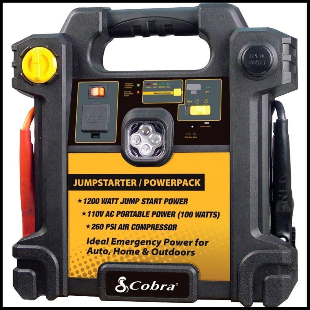 Cobra Jump Start Powerpack 250 300 Amp Portable Jump Start Air Compressor Cobra 109 99 For Emergency Power In You Portable Power Emergency Power Power Outlet