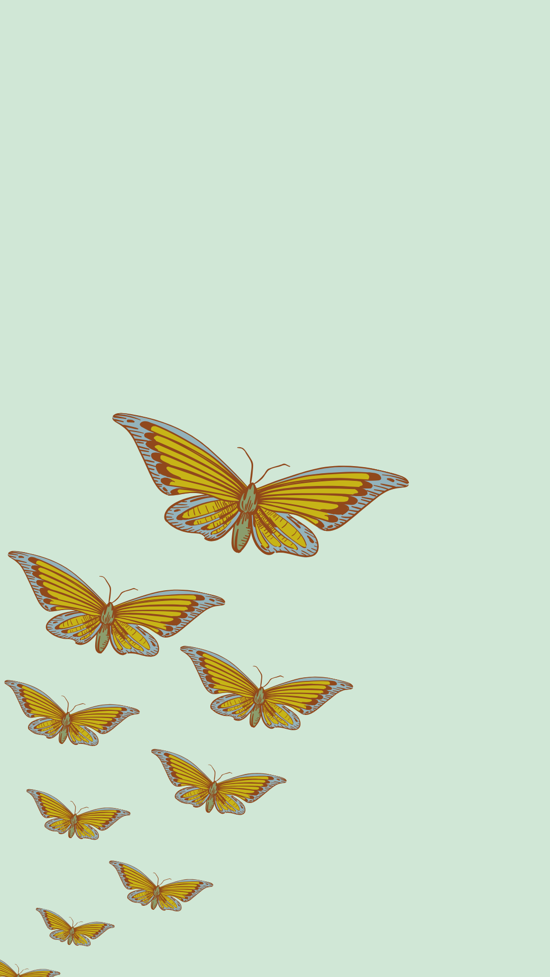 Aesthetic Butterfly Fly Away Free Mobile Wallpaper Background Lock Screen For Iphone And Android Iphone Wallpaper Girly Plant Wallpaper Green Aesthetic