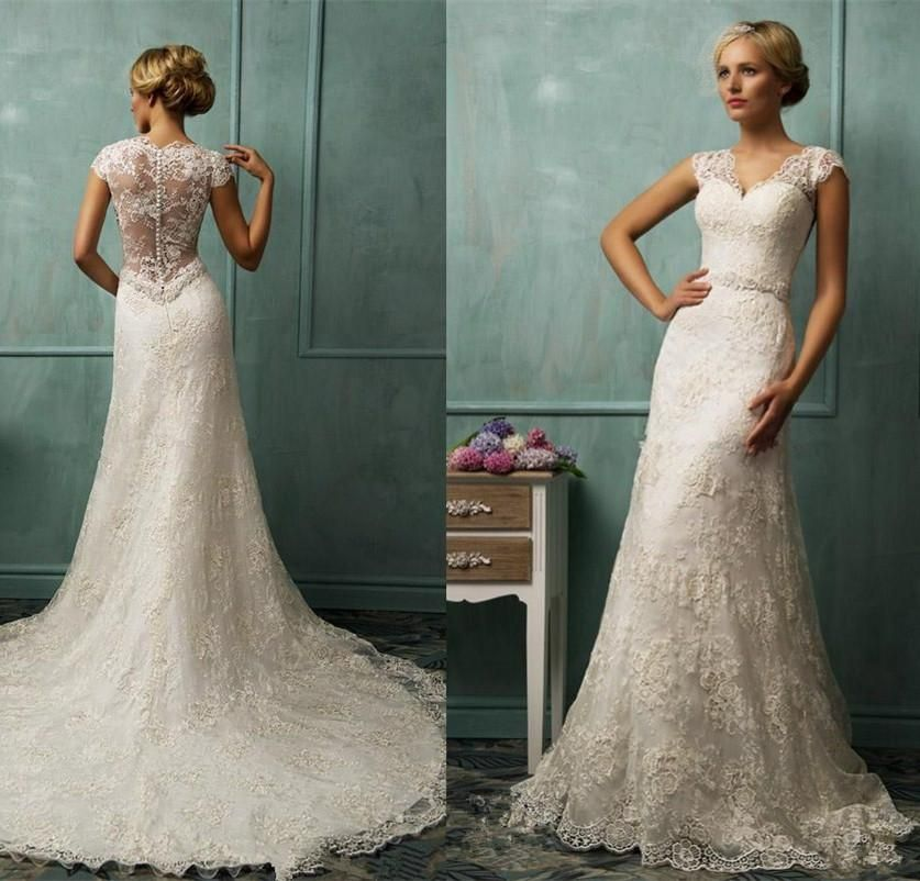2015 Vintage Wedding Dress Ivory Mermaid Bridal Gowns With Appliques V Neck Chapel Train Zipper See Through Back