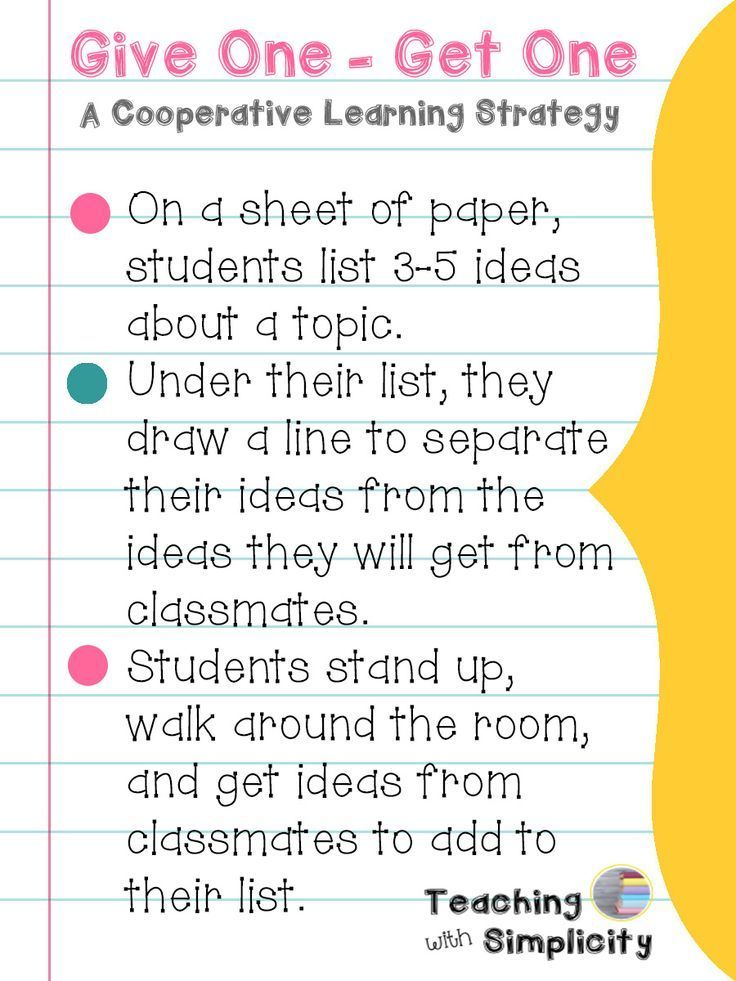 Give One - Get One ~ A Cooperative Learning Strategy Pinterest