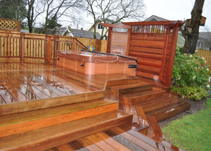 Hot Tub Privacy Fence Ideas | IPE Deck With Japenese Mahogany Privacy Screen