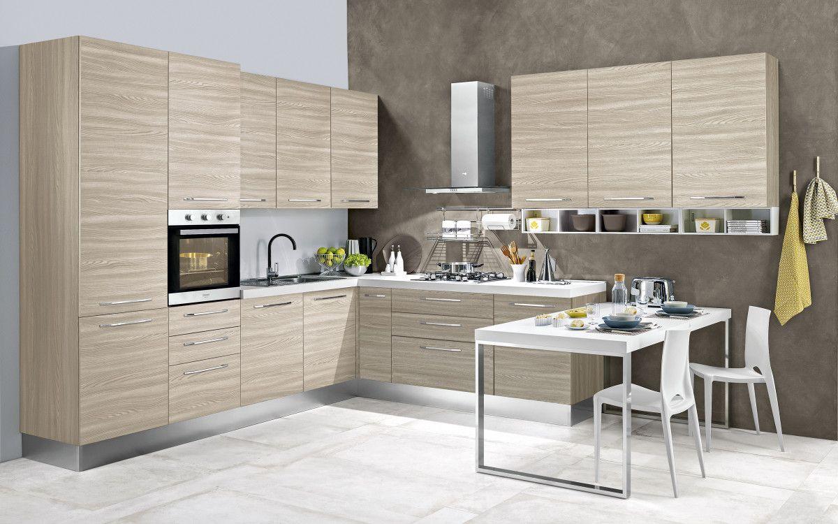 Cucina componibile effetto bianco larice stella classica rn