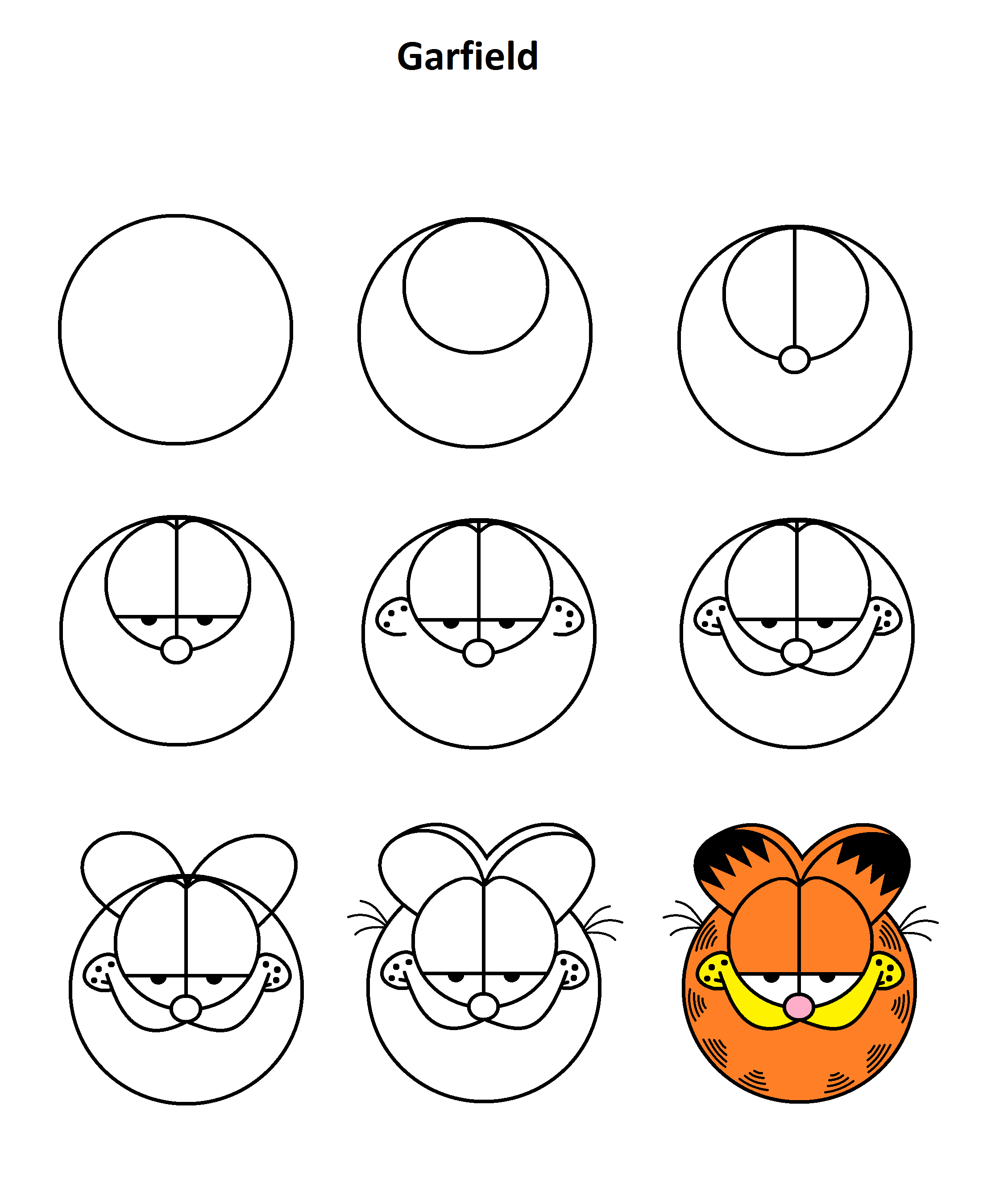 Garfield Step By Step Tutorial Drawing Tutorial Cartoon Drawings Cute Easy Drawings