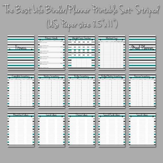 Home Management Binder Printables Collection- Striped