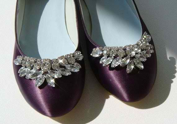 Plum Colored Wedding Flats With Rhinestones Weddingshoes