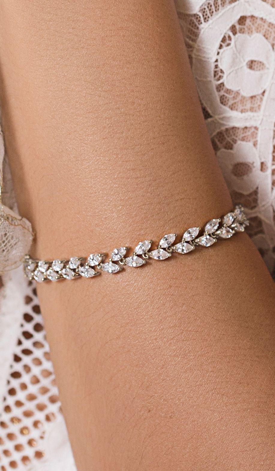 Bracelet Silver Bracelet Wedding Jewelry Brides Crystal Bracelet Bridal Jewelry Leaf Jewelry Bridal Bracelet Gold Leaf Bracelet