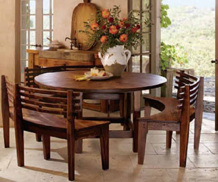Round dining room table sets with benches http for Dining room furniture benches ideas