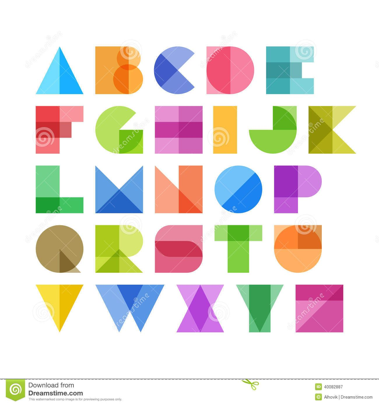 Alphabet De Forme Lettres Geometriques D Alphabet De Formes