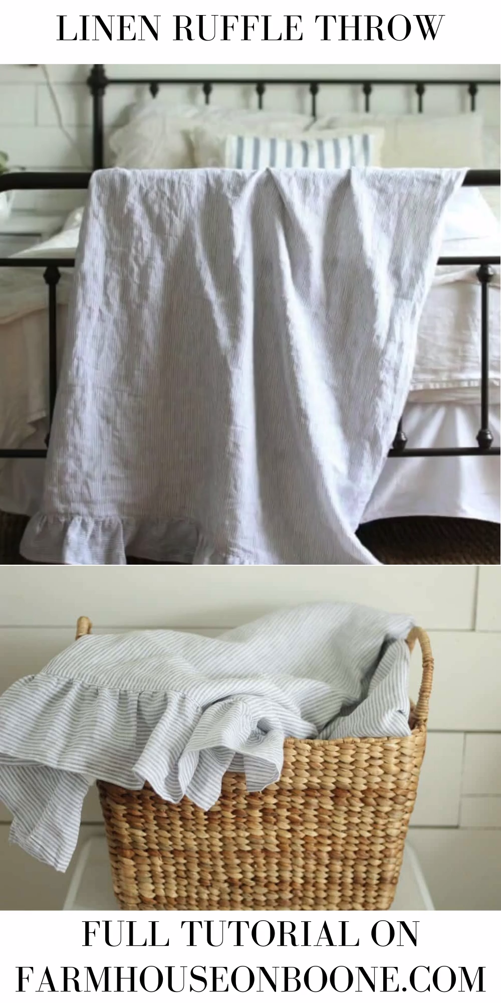 Linen And Flannel Ruffle Throw Blanket Tutorial