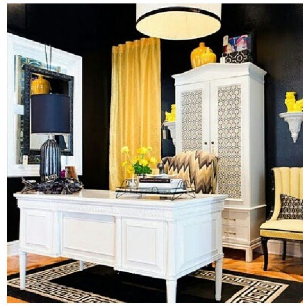 Amazing Hollywood Regency Office With Black Walls And White Furniture
