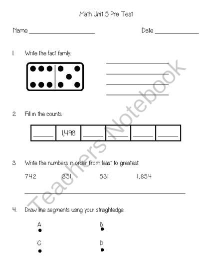 Everyday Math Unit 5 Pretest From Second Grade Superstars On Teachersnotebook Com 3 Pag Everyday Math Printable Math Worksheets Free Printable Math Worksheets