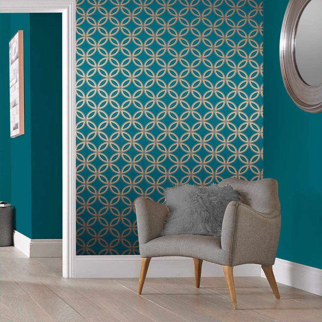 Eternity Teal And Copper Wallpaper In 2020 Teal Living R