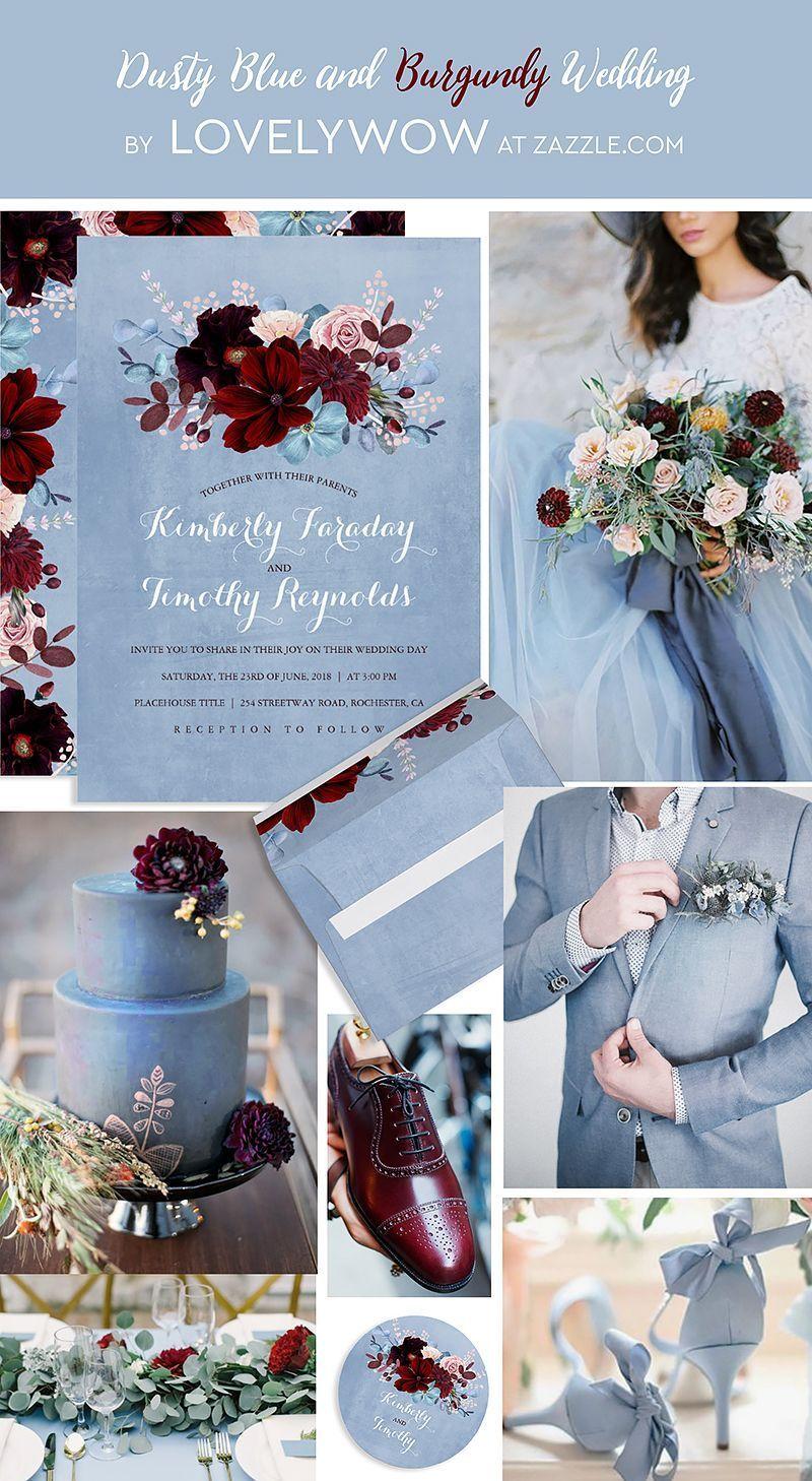 Burgundy And Dusty Blue Floral Elegant Wedding Invitation In 2018