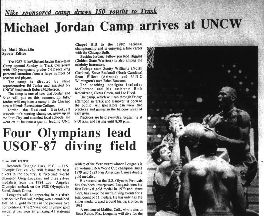 Michael Jordan Nike Boy Basketball Camp June 14 19 1987 Uncw Archive Randall Library Speci History Essay On