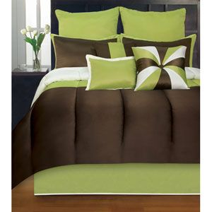 Lush decor lux white six piece queen comforter set brown for Lime green bedroom furniture