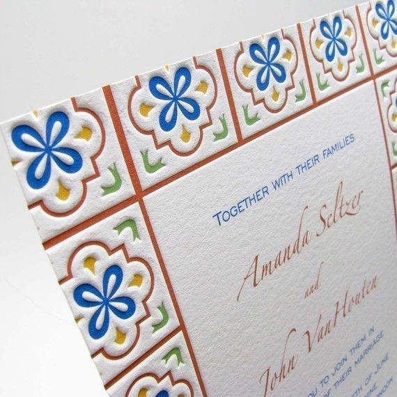 Talavera wedding invitations by letterpresslight on etsy for Oficina zona azul talavera