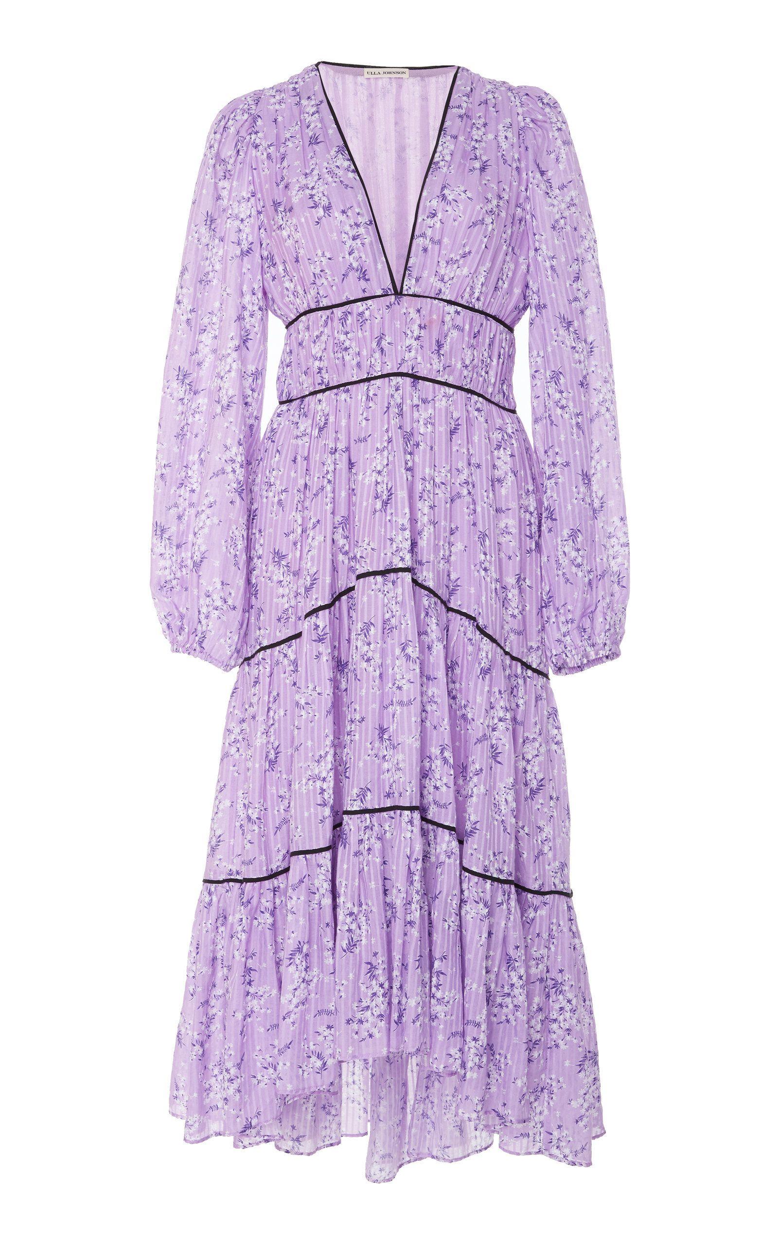 Women/'s Party Dress Purple Pink Tiered Ruffles Silk-like  Midi by Click