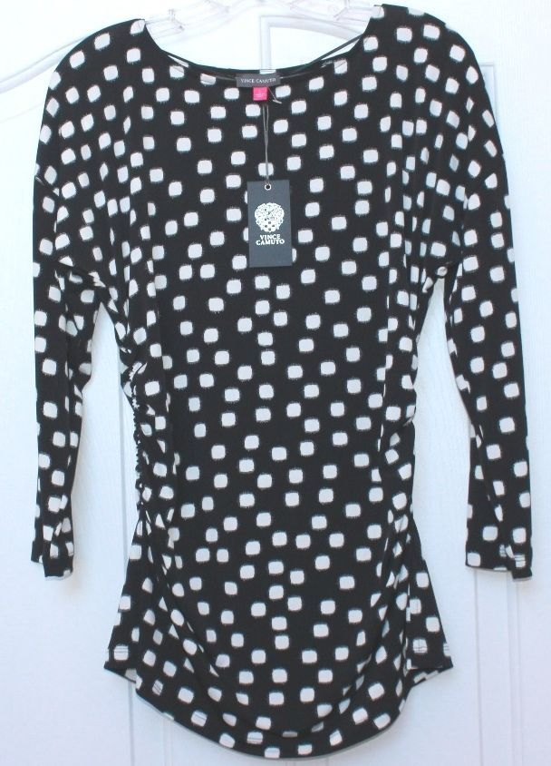 NWT Women's Large VINCE CAMUTO Top Blouse Ruched At Sides Black White squares