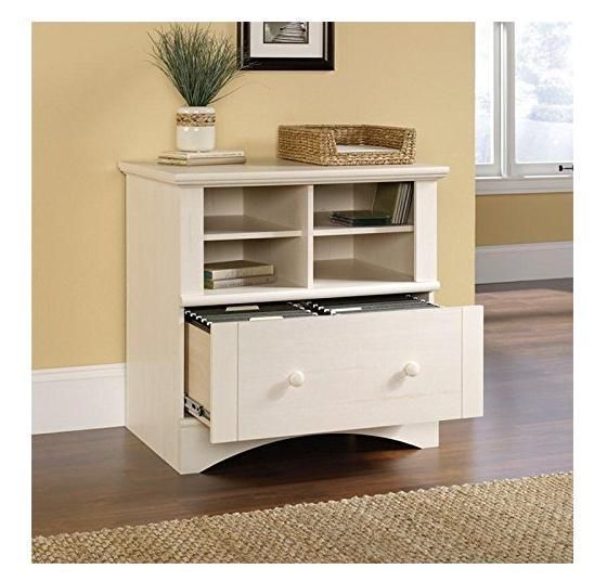 Computer Printer Stand Filing Cabinet Wooden Antiqued White Drawer Storage  Den #Sauder
