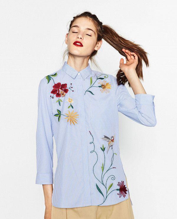 Flower embroidered shirt for women white short shirts short sleeve