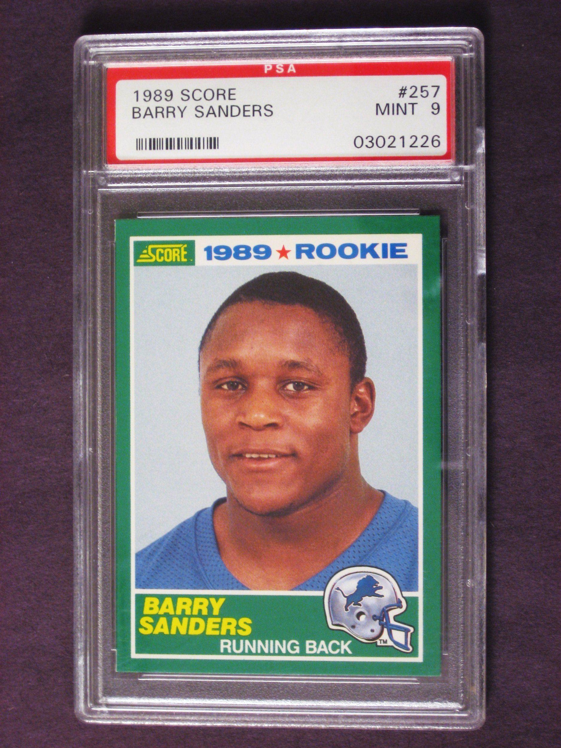 1989 Score Football Barry Sanders Rc Rookie Card 257 Psa Mint 9