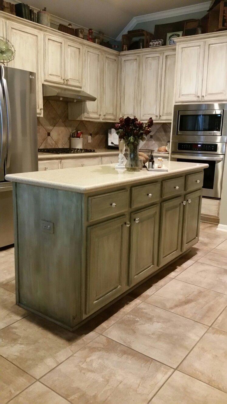 Repainted oak cabinets, glazed. Green and cream   Glazed ...