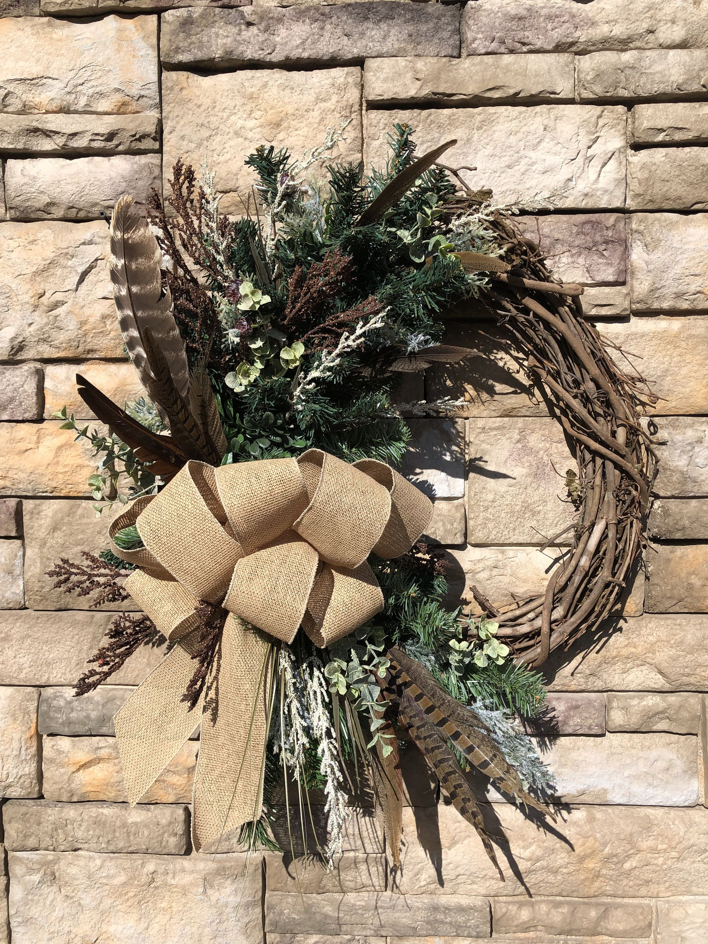 Photo of Large Rustic Winter Pheasant Feather Wreath-Large Farmhouse Wreath-Winter Farmhouse Decor-Rustic Winter Front Door Wreath-Pheasant Feathers