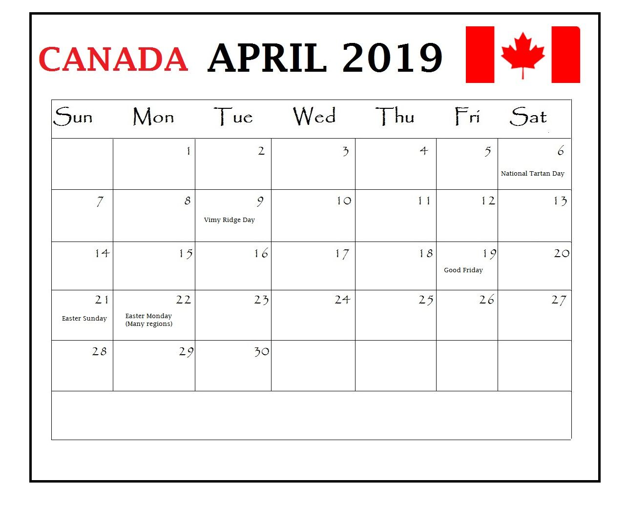 April 2019 Calendar With Holidays For Us Uk Canada India